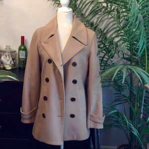 GAP Camel Tan Wool Peacoat Coat